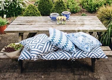 Blauwe picknick sfeer