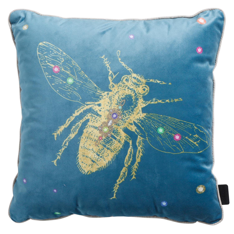 Sierkussen 45x45cm - Velvet insect blue